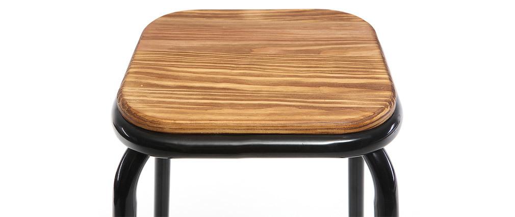 Tabourets de bar empilables noir et bois foncé H77.5 cm (lot de 2) MEMPHIS