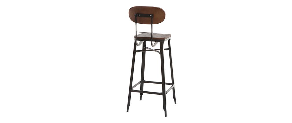 Tabourets de bar en bois et métal noir H75 cm (lot de 2) HOCKER