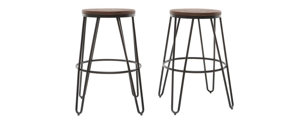 Tabourets de bar en métal noir et en bois H65 cm (lot de 2) IGLA