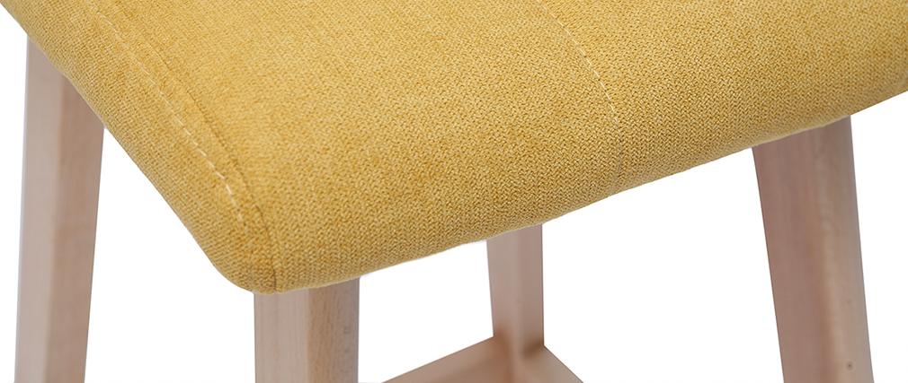 Tabourets de bar en tissu effet velours jaune moutarde H65 cm (lot de 2) KLARIS