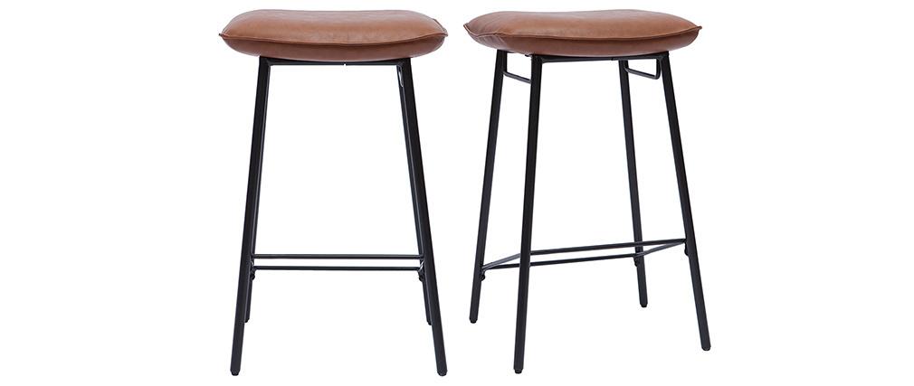 Tabourets de bar industriels marron (lot de 2) DORY