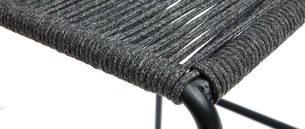 Tabourets de bar intérieur/exterieur cordage gris 72 cm (lot de 2) YORGO