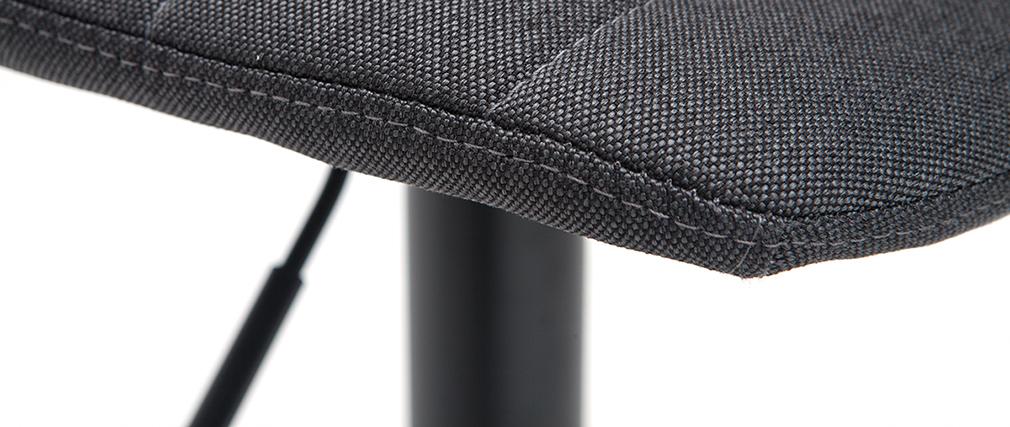 Tabourets de bar réglables tissu et métal gris foncé (lot de 2) SAURY