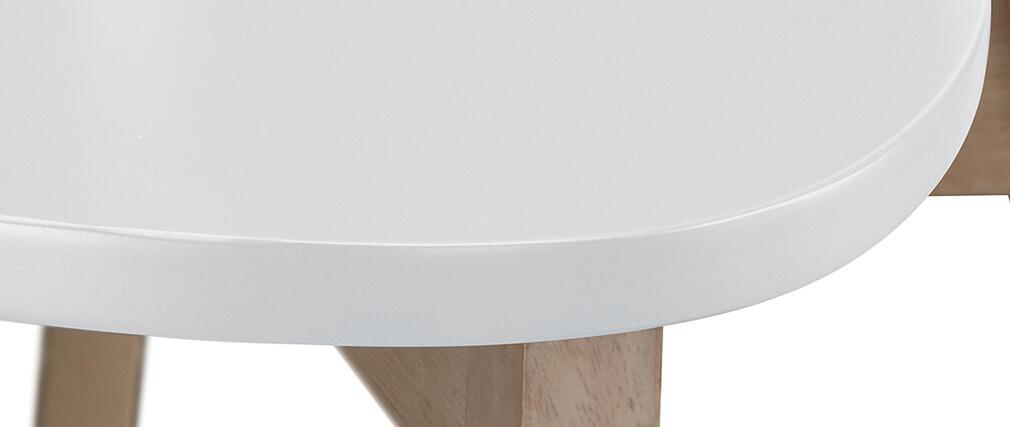 Tabourets de bar scandinaves blanc et bois 65 cm (lot de 2) LEENA