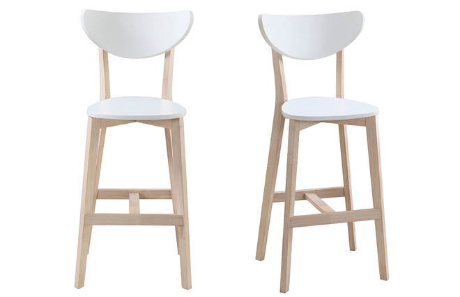 Tabourets De Bar Scandinaves Blanc Et Bois 65 Cm Lot 2 LEENA