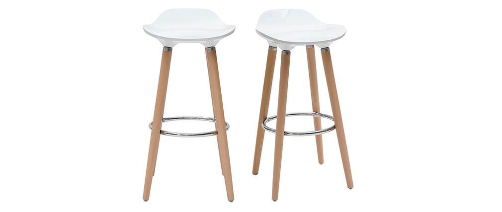 Tabourets de bar scandinaves blancs (lot de 2) GILDA