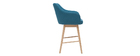 Tabourets de bar scandinaves bleu canard et bois H65 cm (lot de 2) BALTIK