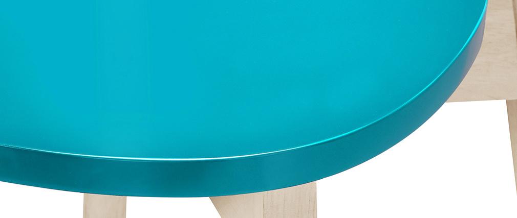 Tabourets de bar scandinaves bleu canard H65 cm (lot de 2) LEENA