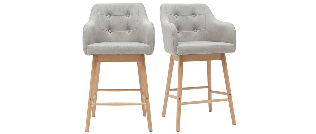 Tabourets de bar scandinaves gris clair et bois H65 cm (lot de 2) BALTIK