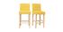 Tabourets de bar scandinaves jaune et bois H65 cm (lot de 2) ESTER