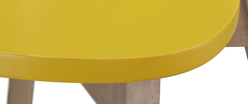 Tabourets de bar scandinaves jaune et bois H65 cm (lot de 2) LEENA