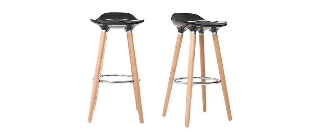 Tabourets de bar scandinaves noirs (lot de 2) GILDA