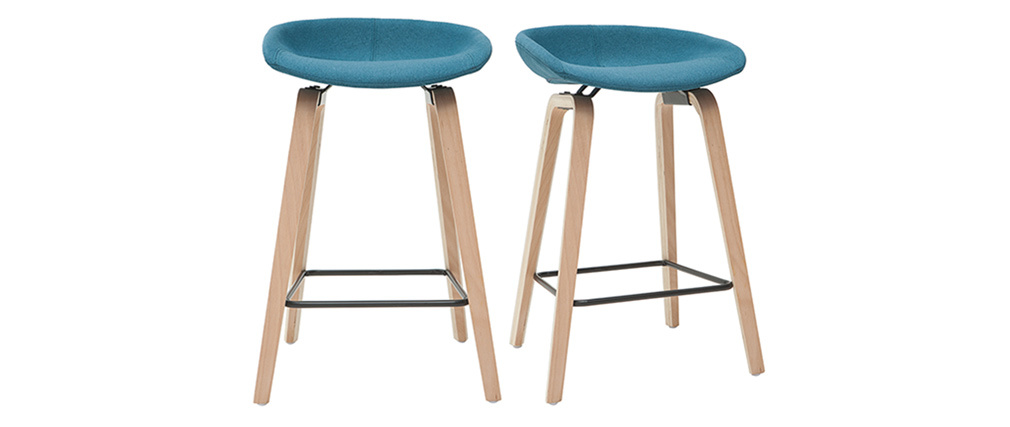 Tabourets de bar tissu bleu canard et pieds bois H65 cm (lot de 2) LINO