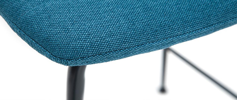 Tabourets de bar tissu et métal bleu canard 65 cm (lot de 2) SAURY
