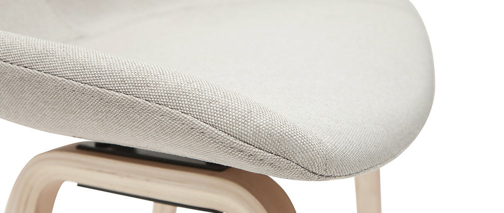 Tabourets de bar tissu gris et pieds bois H65 cm (lot de 2) LINO