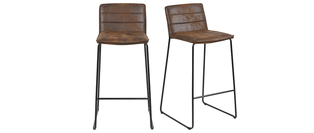 Tabourets de bar vintage marron (lot de 2) CLINT