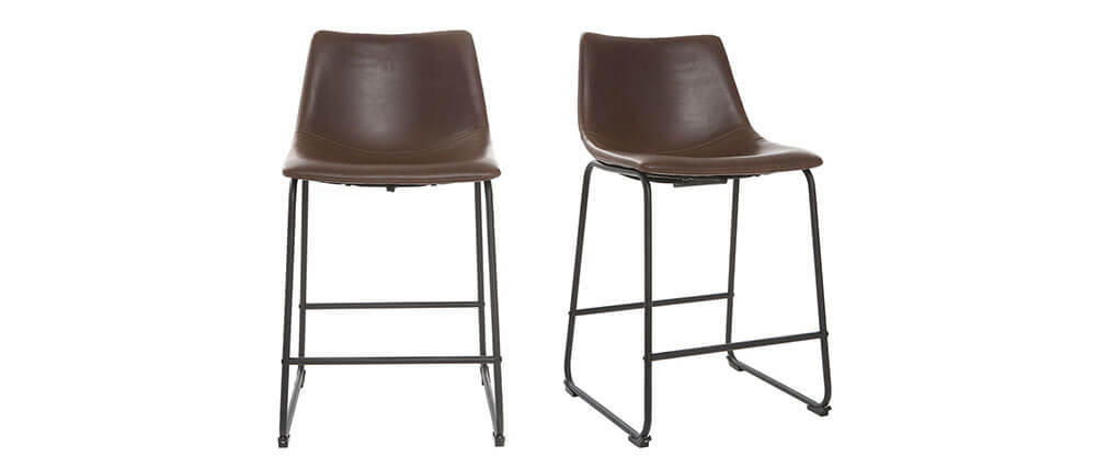 Tabourets de bar vintage marron 61 cm (lot de 2) NEW ROCK