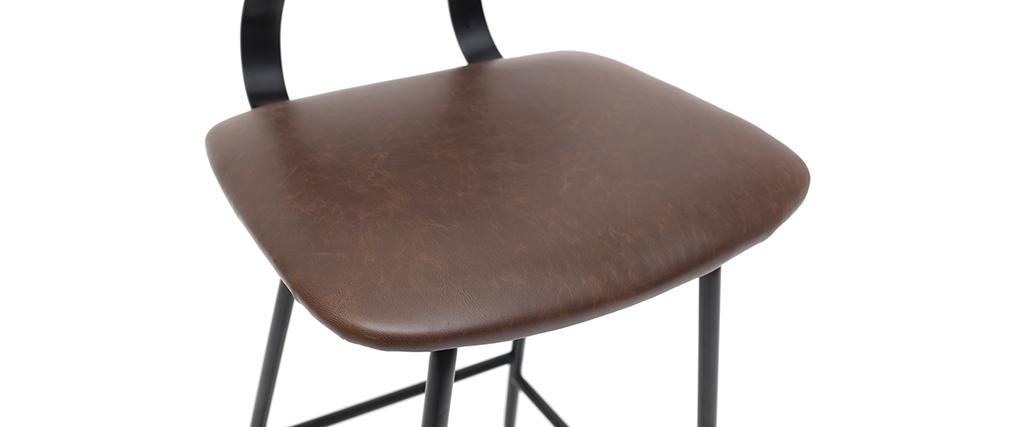 Tabourets de bar vintage marron avec pieds métal 65 cm (lot de 2) LAB
