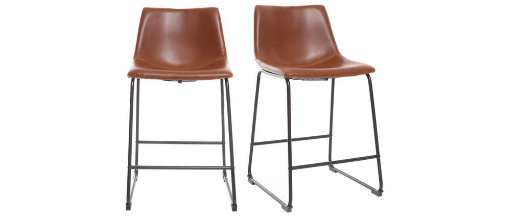 Tabourets de bar vintage marron clair 61 cm (lot de 2) NEW ROCK