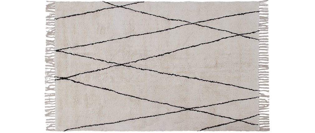 Tapis berbère à franges en coton écru 160 x 230cm HODNA