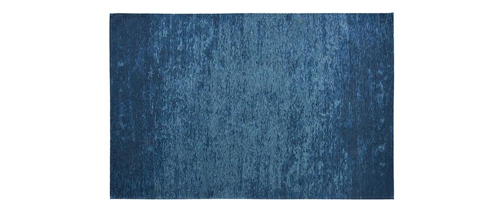 Tapis bleu acrylique-coton 155x230 STONE