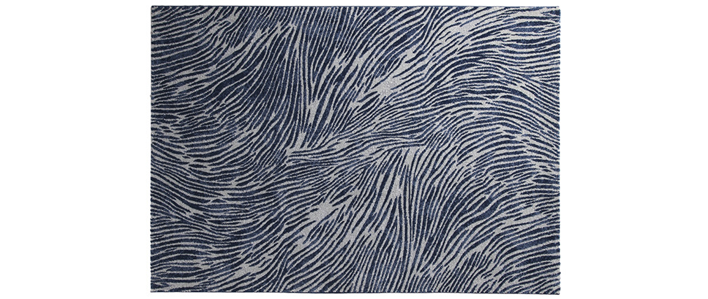 tapis bleu et gris motifs 160 x 230 cm sea miliboo. Black Bedroom Furniture Sets. Home Design Ideas