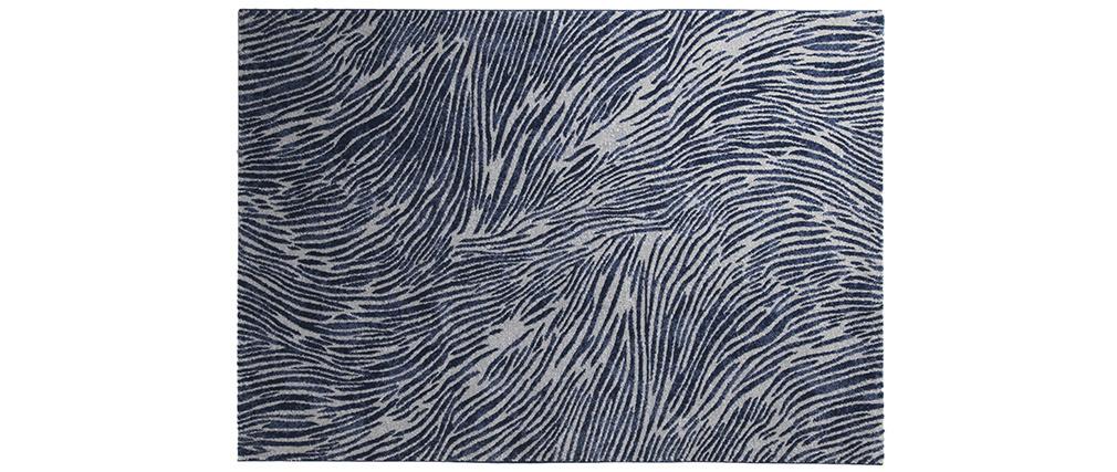 Tapis bleu et gris à motifs 200 x 290 cm SEA