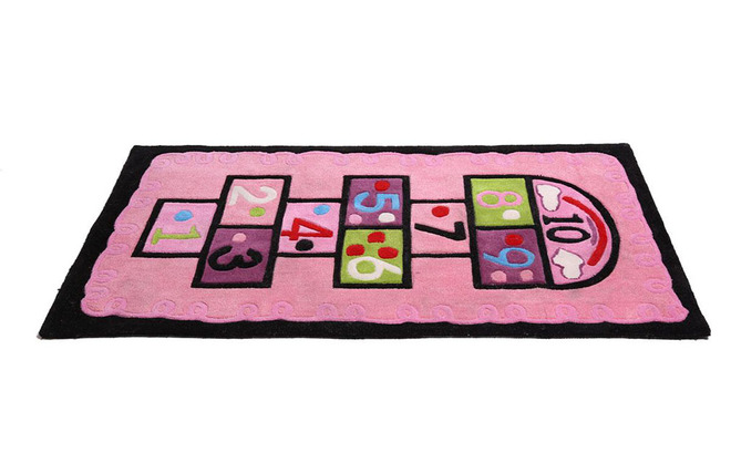 Tapis chambre fille rose 80x150 marelle miliboo - Tapis rose pour chambre fille ...