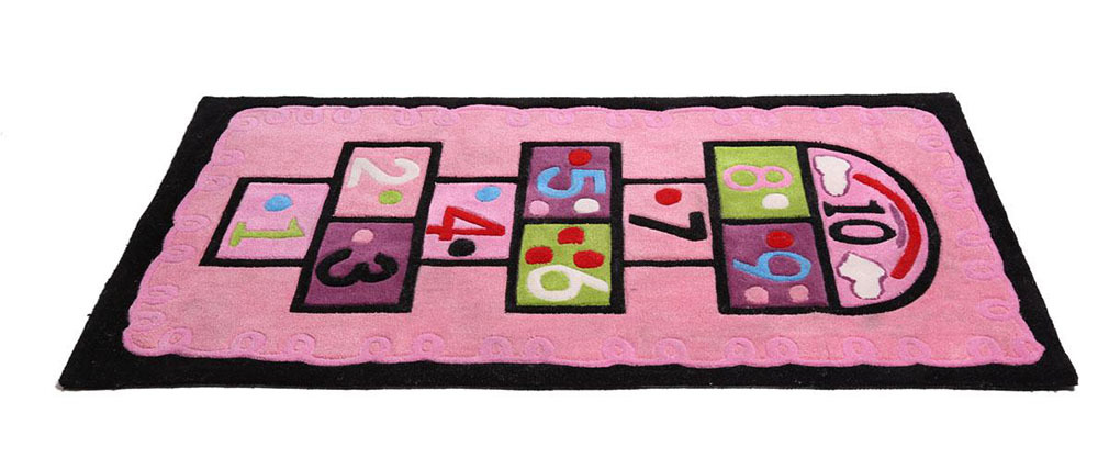Tapis chambre fille rose 80x150 marelle miliboo for Tapis rose pour chambre fille