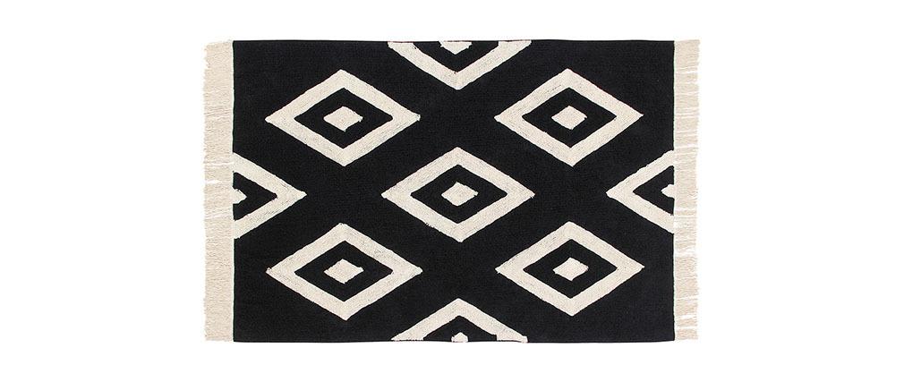 tapis coton 140x200 noir et beige mozab miliboo. Black Bedroom Furniture Sets. Home Design Ideas