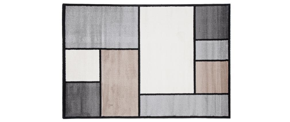 Tapis design blanc, beige et gris 160 x 230 cm CUBIK