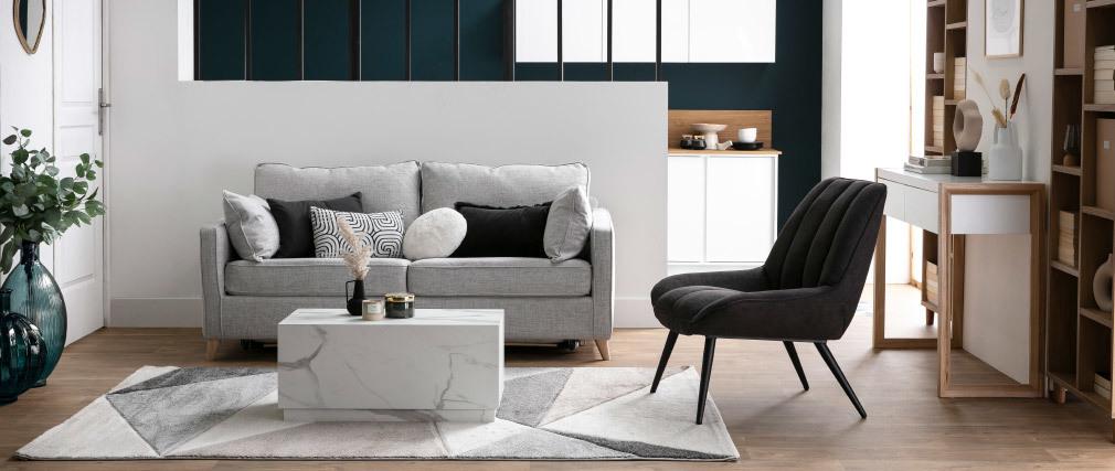 Tapis design blanc, beige et gris 160 x 230 cm TAPEZI