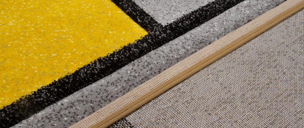 Tapis design jaune et gris 160 x 230 cm - CUBIK