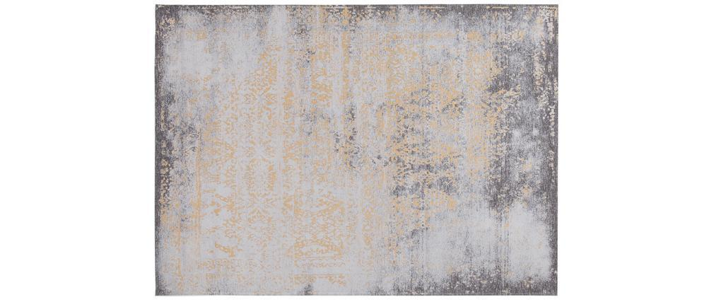 Tapis effet usé jaune or et brun avec motif tissé 160 x 230cm - ASTRA