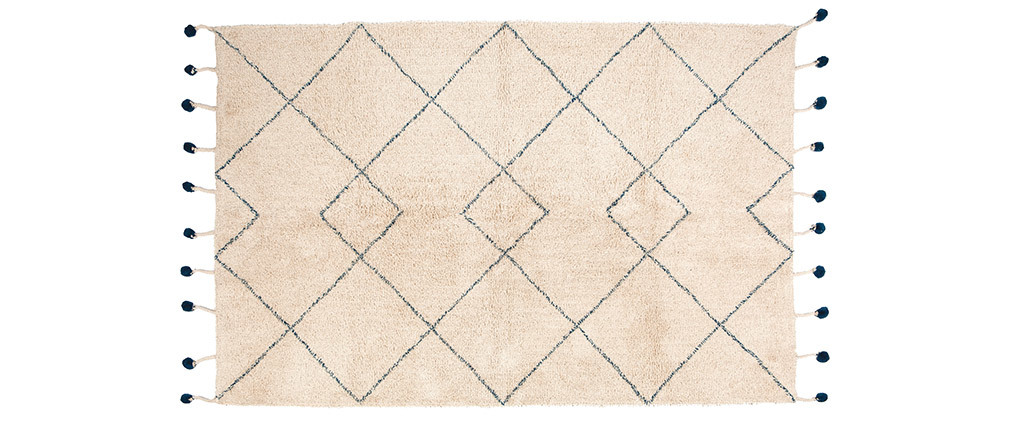 Tapis en coton naturel et pompons 110x170 cm TANVI