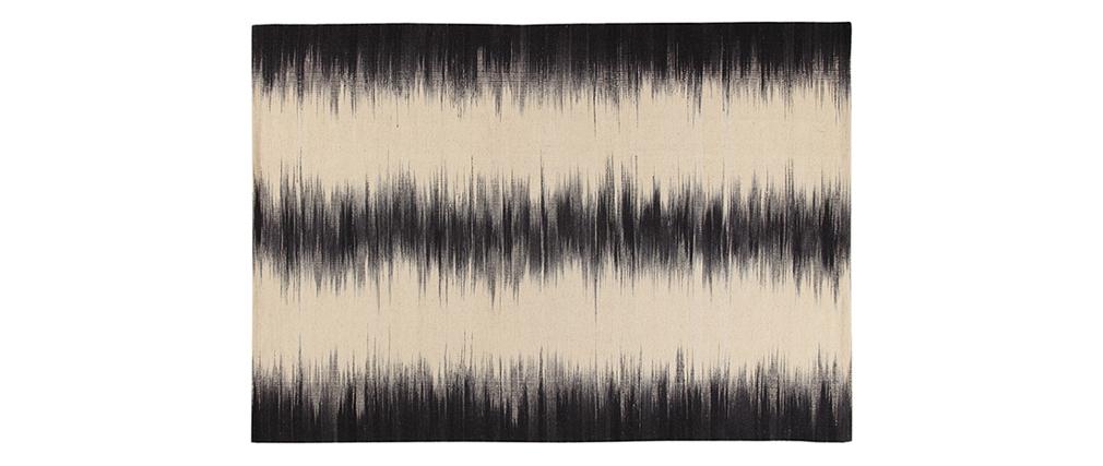 Tapis en laine ivoire et noir 160 x 230 cm IKAT
