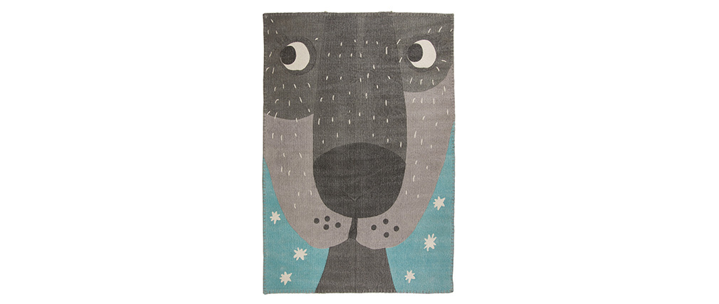 Tapis enfant en coton avec imprimé animal 100x140 cm ANNIBAL