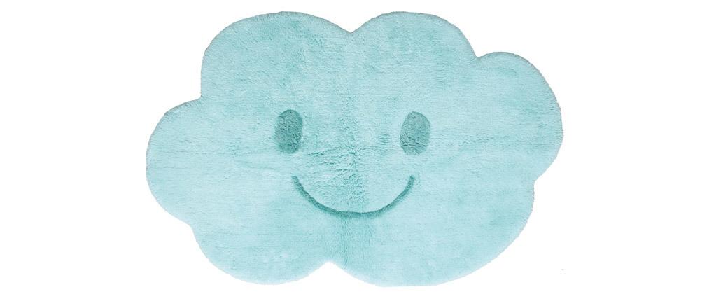Tapis enfant en coton bleu 75x115 cm NIMBUS