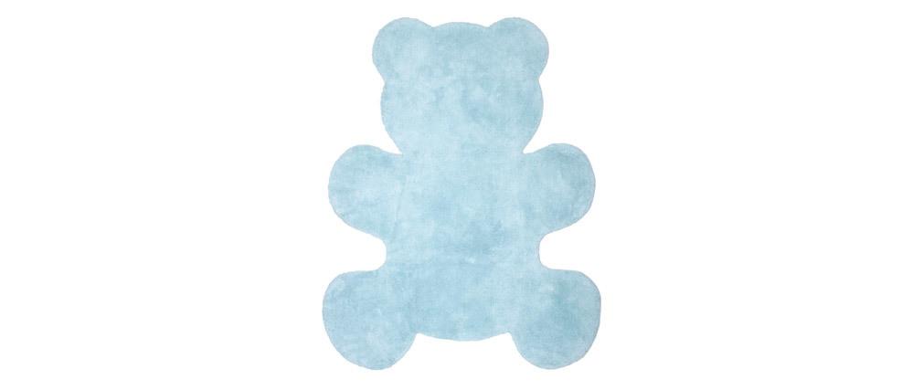 Tapis enfant en coton bleu 80x100 cm TEDDY
