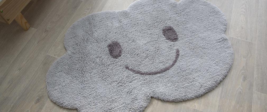 Tapis enfant en coton gris 75x115 cm NIMBUS