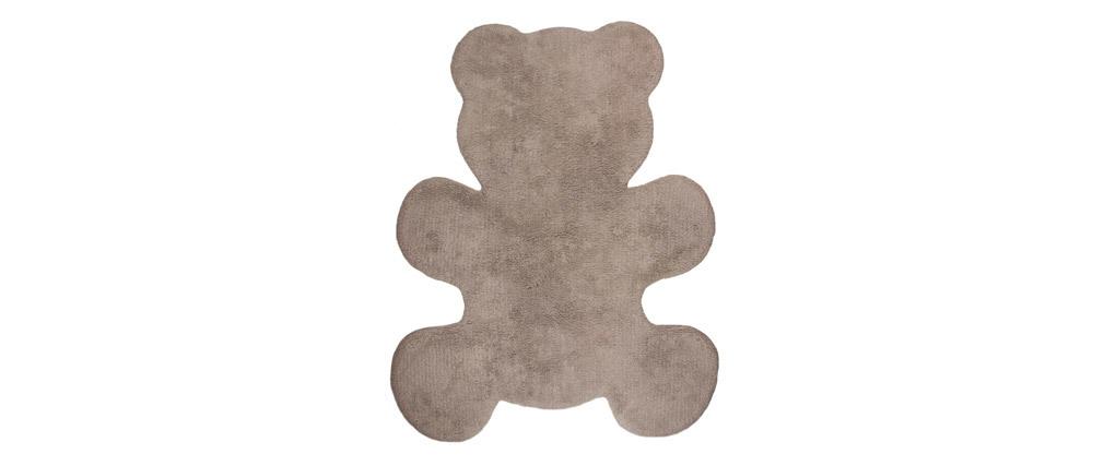 Tapis enfant en coton taupe 80x100 cm TEDDY
