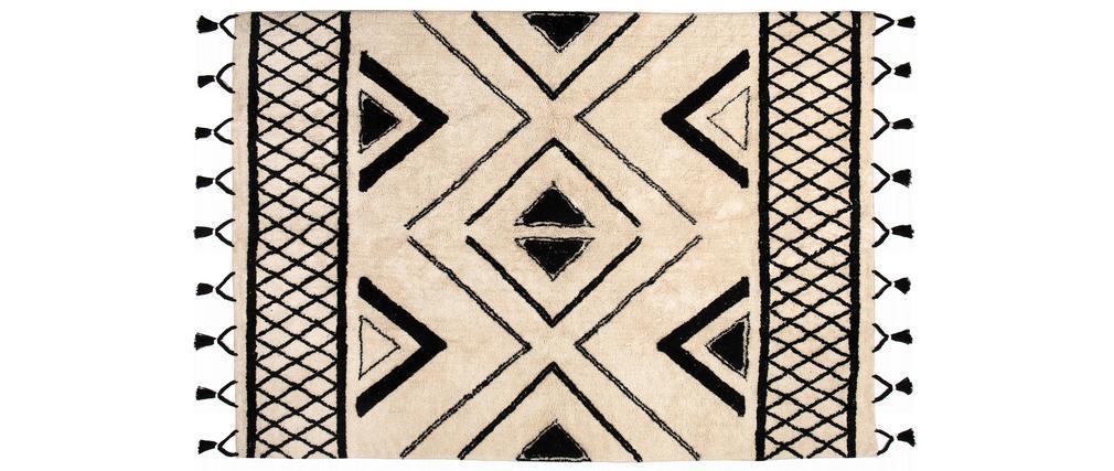Tapis ethnique en coton noir et naturel 160 x 230 cm MAURI