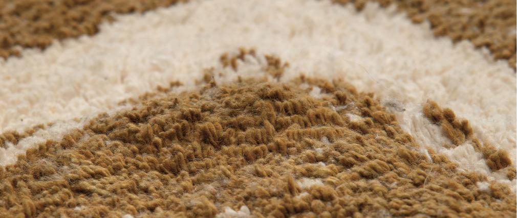 Tapis ethnique en coton ocre et naturel 160 x 230 cm MAURI