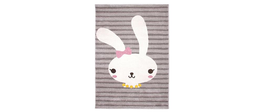Tapis gris enfant avec motif lapin tissé 120x170 cm BONNIE