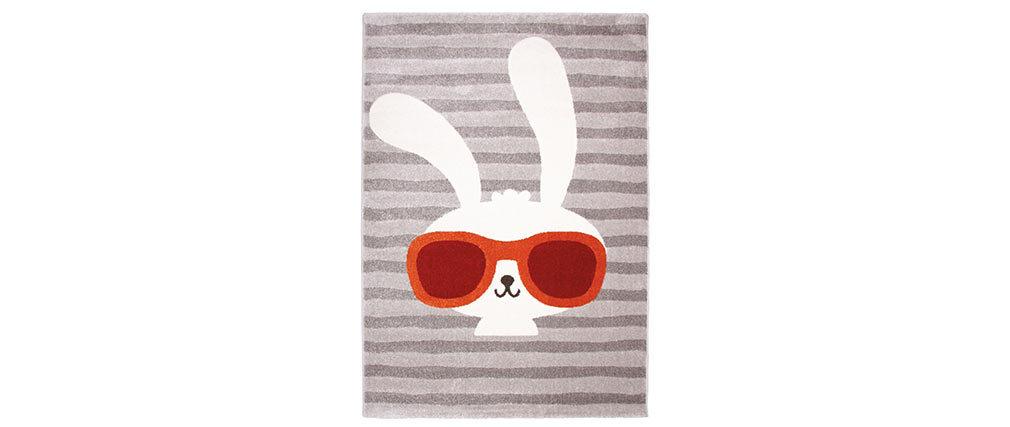 Tapis gris enfant avec motif lapin tissé 120x170 cm CLYDE