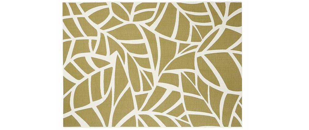 Tapis intérieur extérieur blanc crème et vert 123 x 180 cm GARANCE
