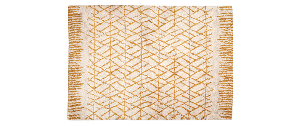 Tapis moderne beige et jaune 160 x 230 cm PALMERAIE