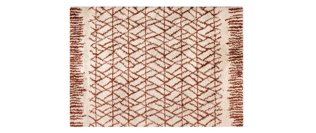 Tapis moderne beige et rouge tomette 200 x 290 cm PALMERAIE