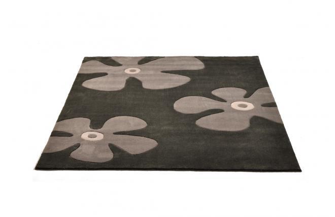 tapis moderne noir et gris motifs marguerite miliboo. Black Bedroom Furniture Sets. Home Design Ideas