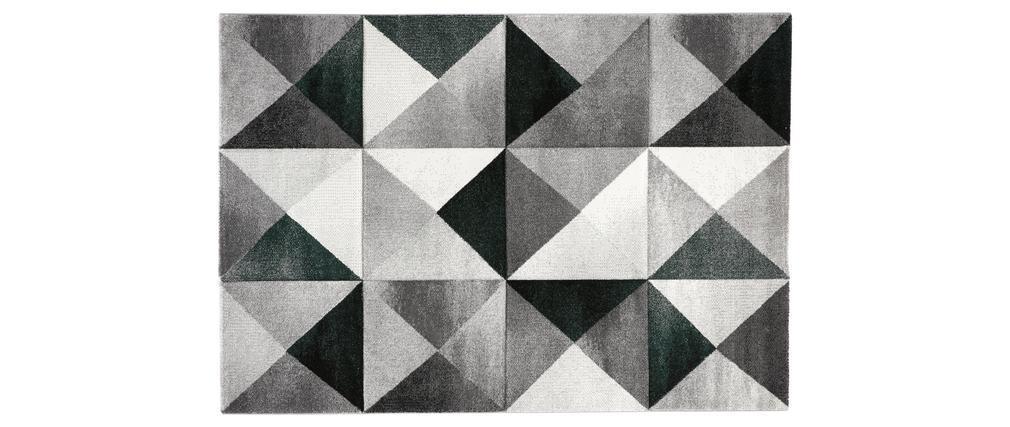 Tapis motifs graphiques vert et gris 160 x 230 cm CHROMA